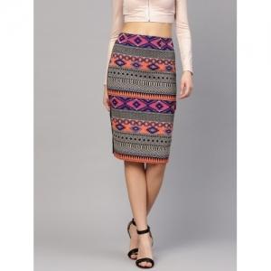 Sassafras Multicolor Self Design Pencil Skirt