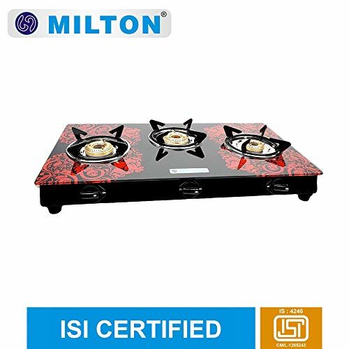 MILTON Premium 3 Burner Glass Top (Red) Manual Gas Stove with MS Frame & Brass Burners (ISI Certified)