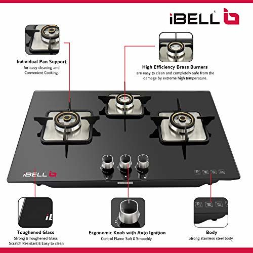 iBELL AERO HOB 3 Burner Glass Top Gas Stove with Auto Ignition (Black)