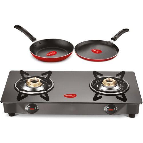 Pigeon Gas Stove Combo - Brunet 2 Burner Gas Cooktop + Flat tawa 250 + Fry Pan 240 Stainless Steel Manual Gas Stove(2 Burners)