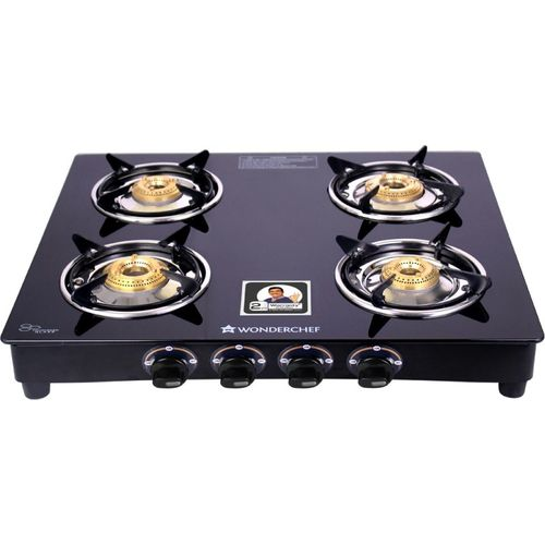 Wonderchef Ruby Black Cooktop Glass Manual Gas Stove(4 Burners)