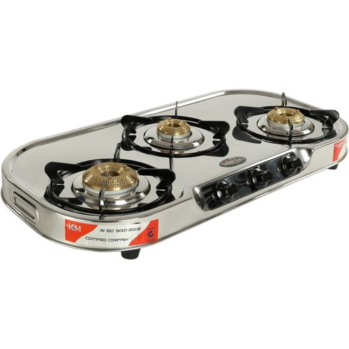 SAFELINE Galaxy 3 Burner Gas Stove Stainless Steel Manual Gas Stove(3 Burners)