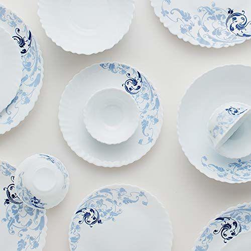 Larah by Borosil Blue Eve Silk Series Opalware Dinner Set, 19 Pieces, White
