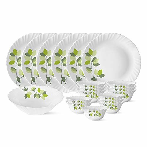 Larah by Borosil Green Leaves Silk Series Opalware Dinner Set, 19 Pieces, White