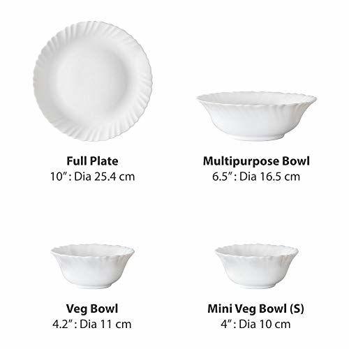 Larah by Borosil Sage Silk Series Opalware Dinner Set, 19 Pieces, White