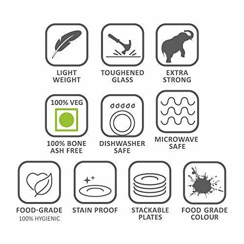 Larah By Borosil Ageria Opalware Dinner Set, 14-Pieces, White