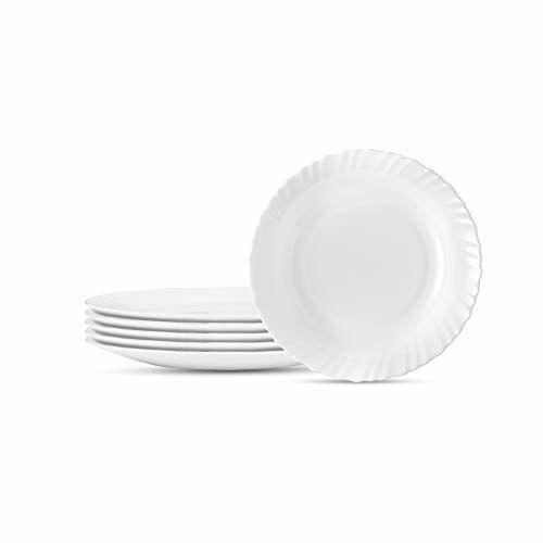 Larah by BOROSIL Opal Glass Full Plate Set, 11-inch,White - Set of 6