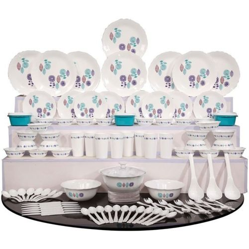 Cutting EDGE Pack of 101 Plastic Ultra Light - Porcelain Look (Microwave Safe, BPA Free) Dinner Set(Microwave Safe)