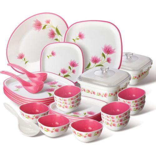 Nayasa Pack of 32 PP (Polypropylene) Square Dinner Set(Microwave Safe)