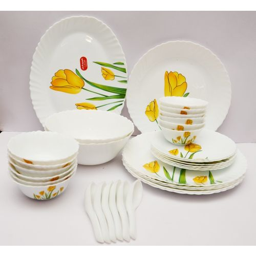 Laopala Pack of 33 Opalware Tulip Passion Dinner Set(Microwave Safe)