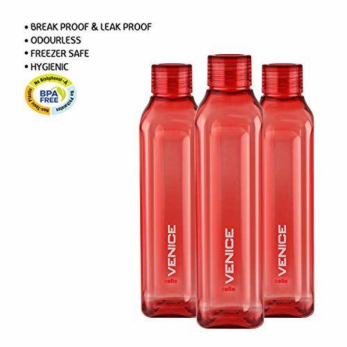 Cello Venice Exclusive Edition Plastic Water Bottle Set, 1 Litre, Set of 3