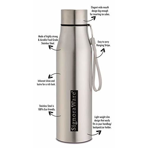 Signoraware Blaze Single Walled Stainless Steel Fridge Water Bottle, 1 Litre, Silver