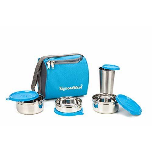 Signoraware Best Steel Lunch Box, Blue (500 ml+350 ml+200 ml)   with Steel Tumbler 370 ml