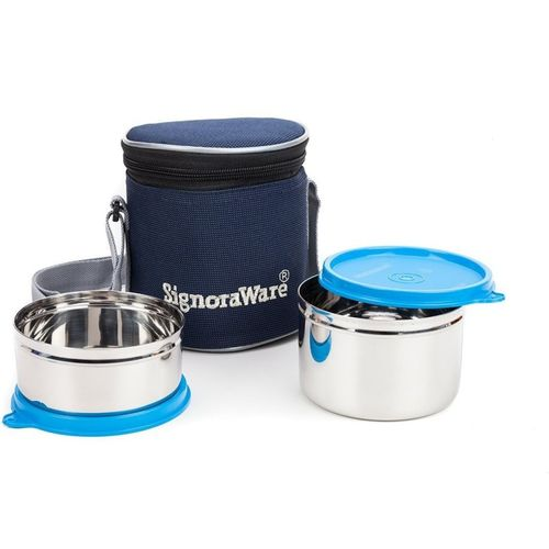 Signoraware Executive Stainless Steel Lunch Box Set, Set of 2 2 Containers Lunch Box(850 ml)