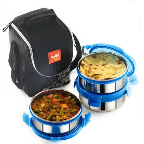 Cello Max Fresh Stainless Steel Lunch Box Set, 460ml, Set of 3, Blue 3 Containers Lunch Box(900 ml)