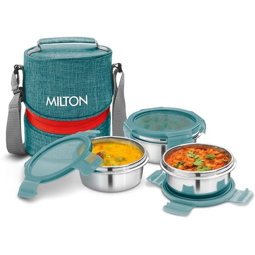 Milton CHIC-3 Stainless Steel Tiffin Lunch Box with 3 Containers, 300 ml each, Green 3 Containers Lunch Box(300 ml)