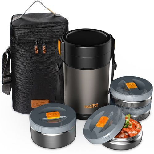 Home Puff Contigo-XL Lunch Box Stainless Steel Vacuum Insulated, with Bag 4 Containers Lunch Box(2300 ml)