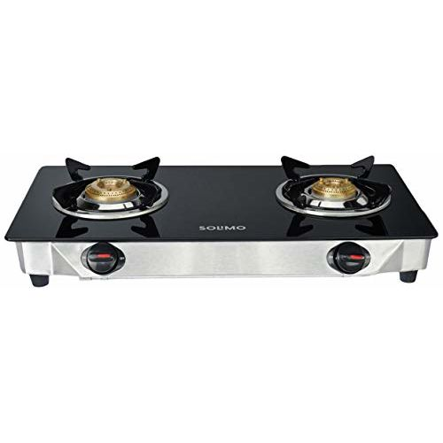 Amazon Brand - Solimo 2 Burner Gas Stove (Glass Top, ISI Certified)