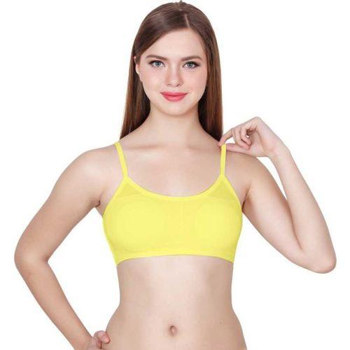 Da Novira Woman's Cotton Free Size 6 Straps Padded Cage Bra With Removable Pad Women, Girls Cage Bra Lightly Padded Bra(Yellow)