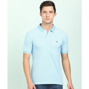 Park Avenue Solid Men Polo Neck Blue T-Shirt