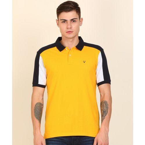 Allen Solly Color Block Men Polo Neck Dark Blue, Yellow T-Shirt