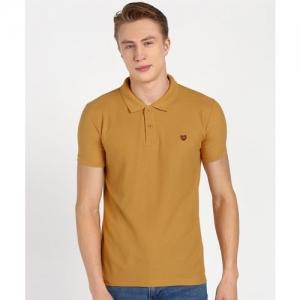 Duke Solid Men Polo Neck Yellow T-Shirt