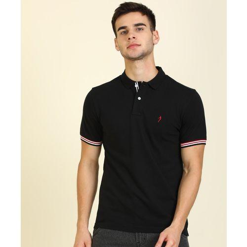Indian Terrain Solid Men Polo Neck Black T-Shirt