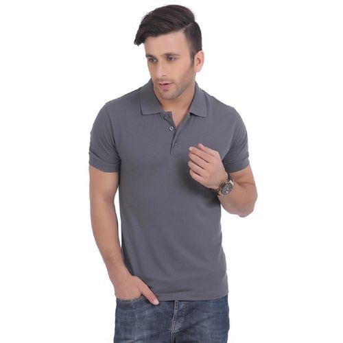 Burdy Solid Men Polo Neck Grey T-Shirt