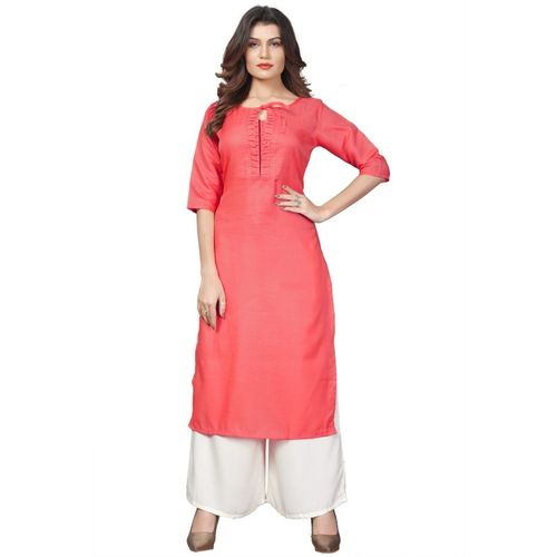 FEXEL Women Self Design Straight Kurta(Pink)