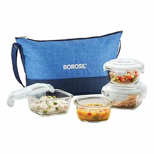 Borosil Prime Daisy Glass Lunch Box Set of 4, (320 ml Sq. + 240 ml Round) Microwave Safe Office Tiffin