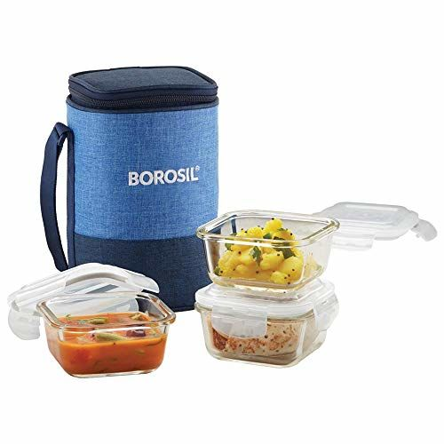 Borosil Prime Glass Lunch Box Set of 3, 320 ml, Square, Microwave Safe Office Tiffin