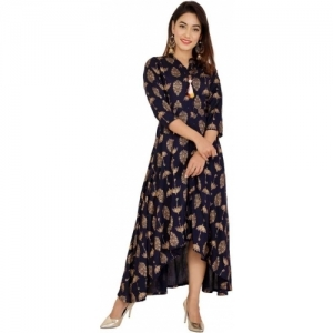 ASEAN Navy Blue Printed High Low Kurta