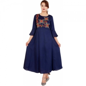 ASEAN Navy Blue Rayon Pleated Kurta
