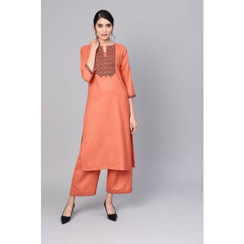 Indo Era Women Embroidered Straight Kurta(Orange)