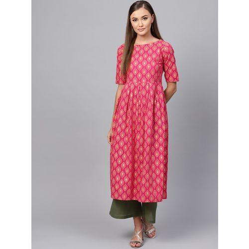 Indo Era Women Printed A-line Kurta(Pink)