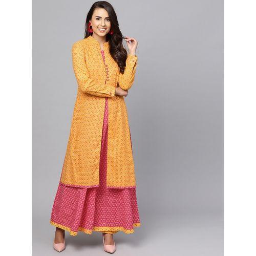 Indo Era Women Printed A-line Kurta(Yellow)