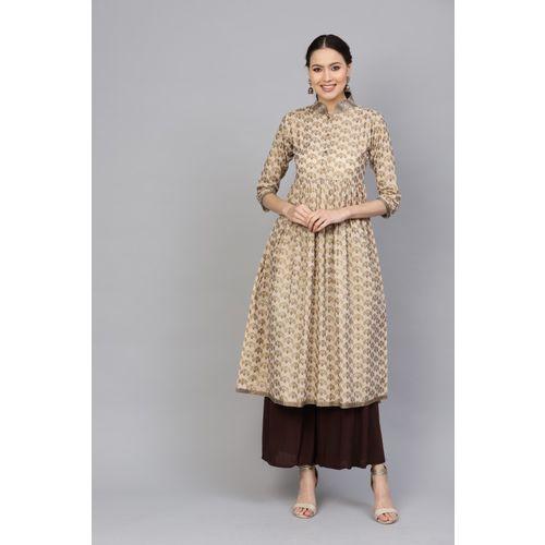 Indo Era Women Printed Flared Kurta(Beige)