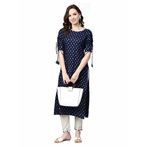 INDO ERA Women's Rayon Straight Kurtas (Blue_Medium)
