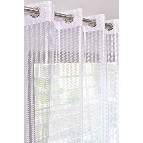 V Decor Fancy Sparkling Beautiful Sheer Strip String Beads Hanging Net Single 1 Piece Polyester White Curtain,Window 5 Feet