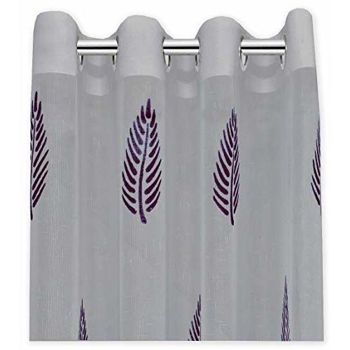 Linenwalas Slub Elegance Solid Khadi Linen with Hand Block Leaf Print Eyelet Non Blackout Sheer 4.5x5ft Window Curtain - Silver Ash Maroon Leaf (Set of 2)