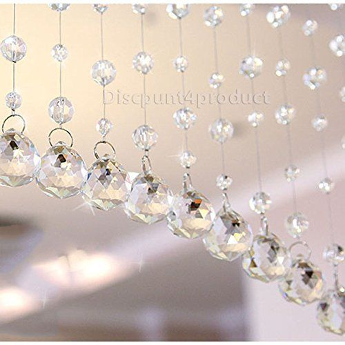 Discount4product Modern 10 Strings Acrylic String Curtain - 4ft, Transparent