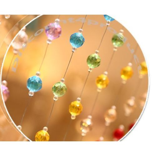 Discount4product 3 ft Acrylic Crystal Glass Drops Strings Bead Hanging Curtain-Multicolour - Set of 10 String