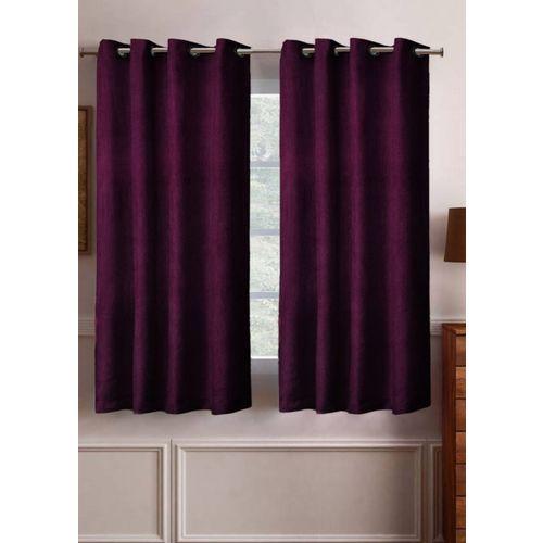 Flipkart SmartBuy 152 cm (5 ft) Polyester Window Curtain (Pack Of 2)(Solid, Purple)