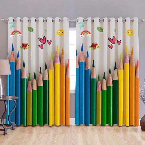 Inovamall 213.36 cm (7 ft) Polyester Door Curtain (Pack Of 2)(Cartoon, Multicolor)