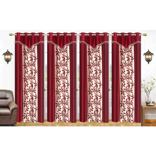 Ville Style 214 cm (7 ft) Polyester Door Curtain (Pack Of 4)(Floral, Maroon)