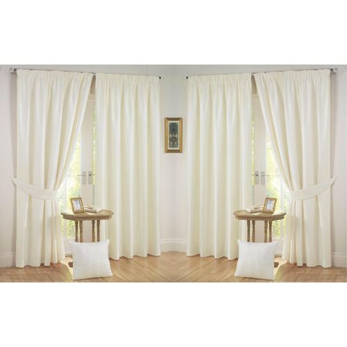 Nikunj Fabs 213.36 cm (7 ft) Polyester Door Curtain (Pack Of 4)(Solid, Cream)