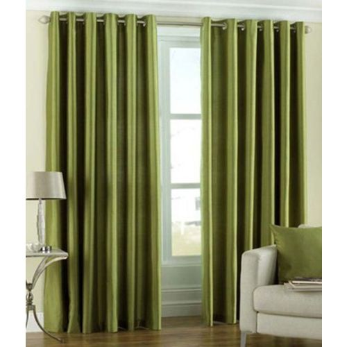 Panipat Textile Hub 152.4 cm (5 ft) Polyester Window Curtain (Pack Of 2)(Solid, Green)