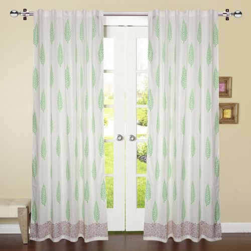 Linenwalas 213 cm (7 ft) Cotton Door Curtain (Pack Of 2)(Abstract, White, Light Green)