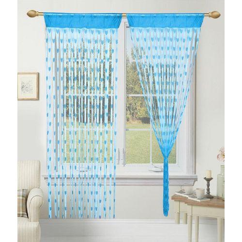 Saanvi textile Hub 183 cm (6 ft) Tissue Window Curtain Single Curtain(Floral, Sky bue)