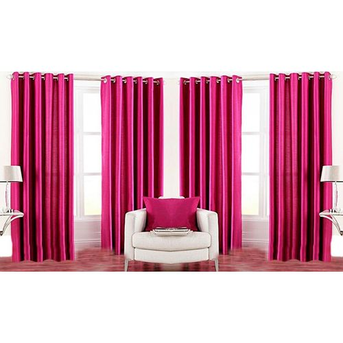 Nikunj Fabs 213.36 cm (7 ft) Polyester Door Curtain (Pack Of 4)(Solid, Pink)